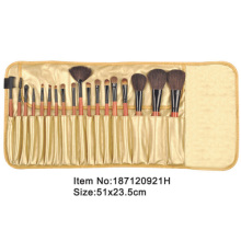18pcs orange plastic handle animal/nylon hair makeup brush tool set with yellow satin case
