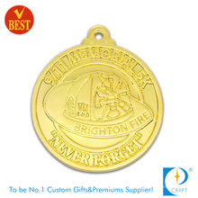 Customized Zinc Alloy Pressure Stamping 2D Souvenir Medal with Gold Plating