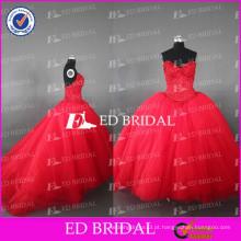 ED Bridal Real Sample Sweetheart Beaded Bodice Vestido de Baile Vestidos vermelhos Tulle Quinceanera
