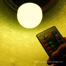 Magia y colorido 3w rgb led bombilla con mando a distancia