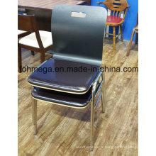 Chaise empilable noire de restaurant de Bentwood avec la garniture (FOH-SBC01)