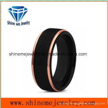 Neuer Entwurfs-Doppelt-Farben-Mann-populärer 18k schwarzer Überzug-Schmucksache-Ring