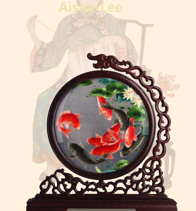 Hand Embroidered Artwork Lotus Fish
