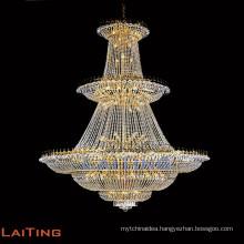 Hotel luxury crystal big chandelier modern handing light industrial lighting