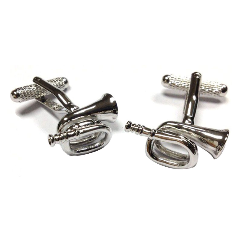 Bugle Novelty Cufflinks Silver Finish