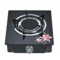 Mesa de vidrio templado negro estufa de gas