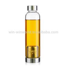 2017 Nuevos Productos Calientes Regalo de Navidad BPA Botella de Agua de Borosilicato de Boca Abierta Libre a Prueba de Fugas con Tapa de Cobre
