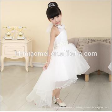 2016 новая мода короткий передний долго назад реальный образец цветок девушка платье для Западной свадьбы