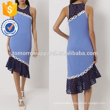 New Fashion Bright Blue Racer Back Dress With Applique Panels Manufacture Wholesale Fashion Women Apparel (TA5261D)