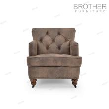 Muebles de tapicería moderno marco de madera solo asiento lving habitación tela sofá silla de acento
