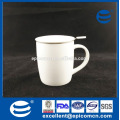 Plain White Blank Céramique New Bone China Coffee Mug Tasse à thé avec filtre avec couvercle