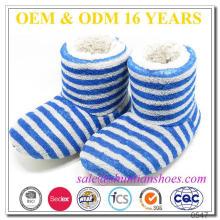 Blue stripe soft coral velo com plush forro inverno indoor botas crianças