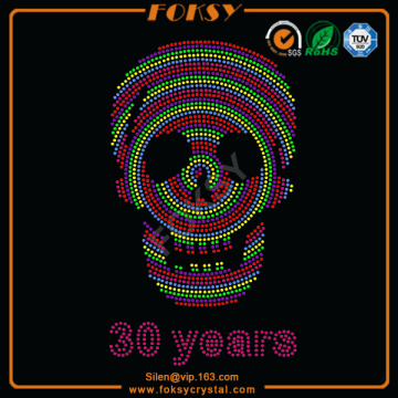 Multicolored Skull 30 Years rhinestone motif