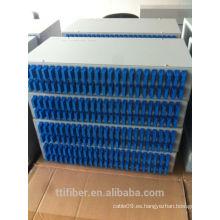 Marco de distribución de fibra óptica de 96 núcleos con adaptador Quad SC para gabinete de red