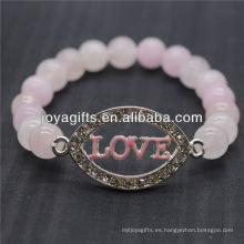 Diamante Love Logo Con 8MM Pulsera de Estiramiento de Piedra Semi Preciosa