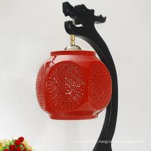 Lâmpada de porcelana vermelha abajur quadros de abajur de cerâmica por atacado