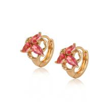 28230 xuping wholesale cheap 18k gold color synthetic zircon ladies hoop earrings
