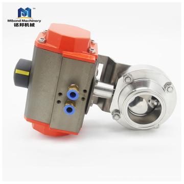 Válvula de mariposa de acero inoxidable SS304 / 316L con actuador neumático Fabricante
