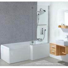 Banheira acrílica quadrada de duche com tela de banho