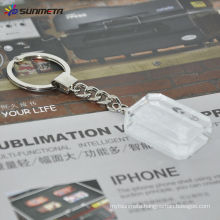 Sublimation crystal keychain/crystal glass/gift/square keychain