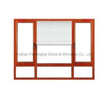 Ventana de persiana de aluminio con vidrio de doble acristalamiento de 5 mm (FT-W135)