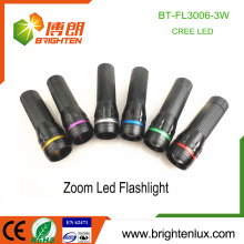 Factory Hot Sale 3*AAA battery Operated Best Aluminum Material 3watt XPE Cree led High Power Zoom Flashlight Torch with O ring