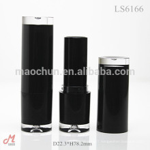 LS6166 With clear bottom and clear top round matte black lipstick tube