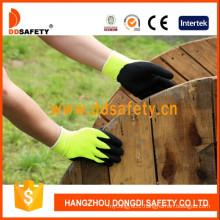 Black Latex Coated Work Glove Crinkle Finished Dnl414