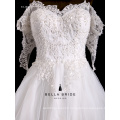 High quality Korean style lace sleeves wedding dress embroidery beaded wedding dress 2016