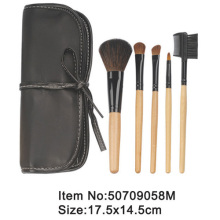 5pcs portable ivory plastic handle animal/nylon hair makeup brush tool set with black tied case