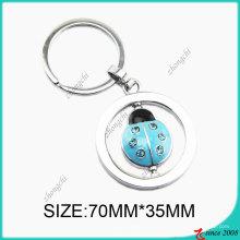 Chaîne de clé en alliage de zinc coccinelle émail bleu (KC)