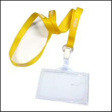 Retractable Clear Name / ID Card Badge Reel Holder Custom Lanyard with Clips (NLC022)