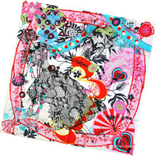 Women Fashion Flower Printed Square Silk Scarf (L-4)