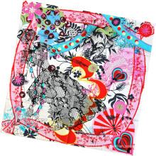 Women Fashion Flower Printed Square Silk Scarf (L-4)