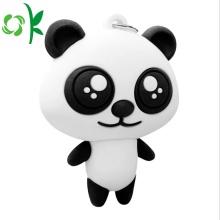 Porte-clés en métal de PVC de PVC doux de silicone de Panda 3D