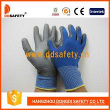 Blaue Nylon und Polyester Liner Grau PU Handschuhe Dpu167