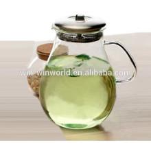 Grand verre d'eau en verre soufflé par main avec le couvercle d'acier inoxydable