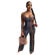 Fashionable Casual Striped Halter with off-The-Shoulder Jumpsuit Cross-Border Women Clothing