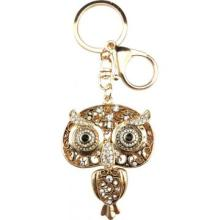 Gold big eyes owl keychain