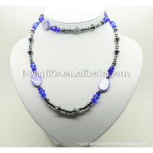 Fashion Hematite Wrap With Blue Crystal Beads