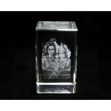 3 Inches 3D Gauri Ganesha Crystal Block for Hindu (R3018)