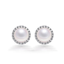 Fantaisie en argent sterling big pearl jewelry mounting stud earring