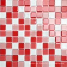 Precioso mosaico de vidrio de color rosa de 4 mm
