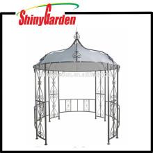 Im Freien runde Form Stahlrohrrahmen FABRIC Dachgarten Gazebo
