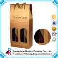 Caja de empaquetado del vino del papel de tarjeta de Gloden de encargo de la venta caliente con la cuerda del algodón