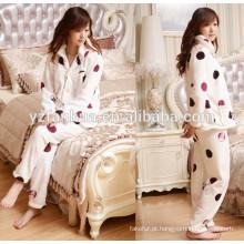 Noite de algodão de flanela quente feminino pijama de dormir usar