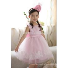 Personnalisé Pink Scalloped Big Bow Back Lace Appliqued Jupe Flower Girl Dress FGZ25 Vêtements pour enfants
