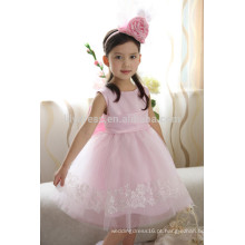 Personalizado Pink Scalloped Big Bow Voltar Lace Appliqued Saia Flower Girl Dress FGZ25 Roupas para Crianças