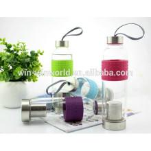 Werbe Sealed hitzebeständigen Edelstahl Deckel Glas Wasserflasche Infuser