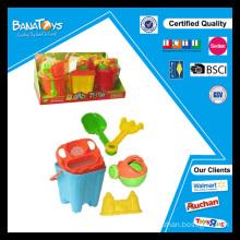 Jogo de baldes de plástico para crianças e pás de brinquedo de praia